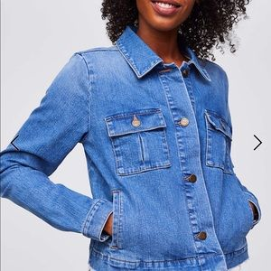 NWT LOFT frayed denim swing jacket size medium